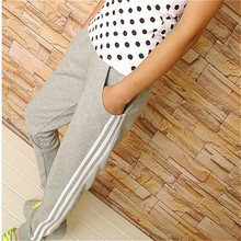 2016 Hot Sale 3Color Women Sport Pants Casual Slim Stripe Besides Pants For Women Middle Waist 100% Cotton Trousers Ankle Length(China (Mainland))