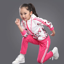 Kids Clothes Spring and Autumn 2016 Girls Sets New Child Foral Print Sport Suits Girls Children Clothing Set 4 Colors Age 3-15Y(China (Mainland))