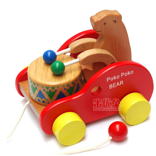 Baby educational animal car wooden toys for children Cubs Beat drums cars wood toy(China (Mainland))