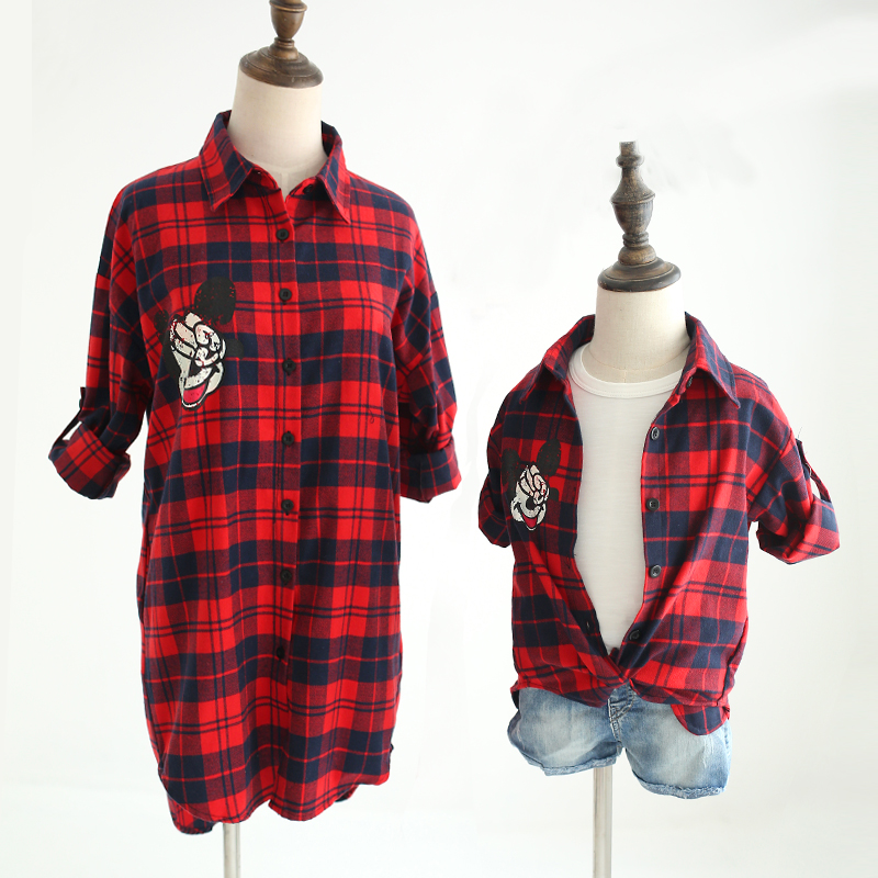 Mother-and-Daughter-Matching-Clothes-Dress-Family-Mickey-Mouse-Clothing-Plaid-Shirts-Mom-Mother-Son-Oufits (1)