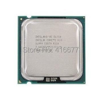 Original E6750 Desktop cpu for Intel Core 2 DUO E6750 CPU 2.66GHz 775pin 4MB Cache Dual-CORE 65W Desktop Processor Free Shipping(China (Mainland))