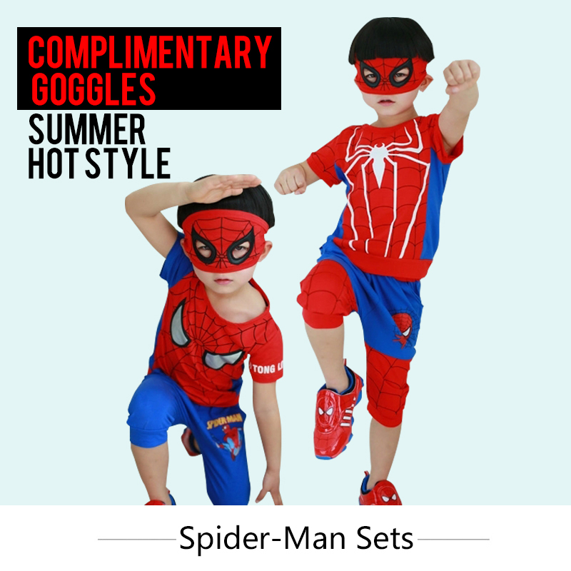 Age 3-7 Clothes For Boys Children's Animal Cartoon Pullover Mask Goggles Costume 2 Pieces Boys Summer Sets Shorts T-Shirts Kids(China (Mainland))