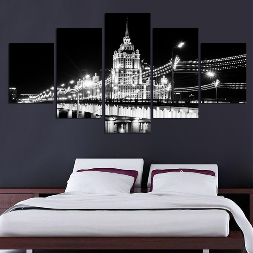 (Unframed)Modern Landscape Painting Black And White Bridge Canvas Prints Large Canvas Paintings Wall Pictures For Living Room(China (Mainland))