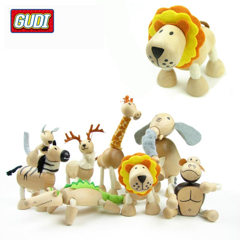 5piece/bag Children Wooden Animal Toys Zoo Animal Dolls Puppet Dummy Set Figure Creative Toys G01T74(China (Mainland))