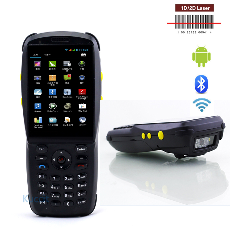 "Bluetooth Barcode Scanner Android 1D 2D Laser Rugged Handheld Data Terminal 3.5"" PDA NFC 3G Data Collector Wifi Cell phone(China (Mainland))"