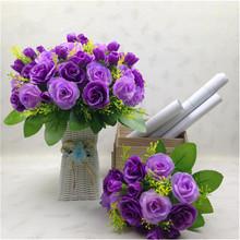 Korean Decorated Silk Flower Plants Fake Flower Emulational Valentine Rose Artificial Flowers for Living Room Ornament(China (Mainland))