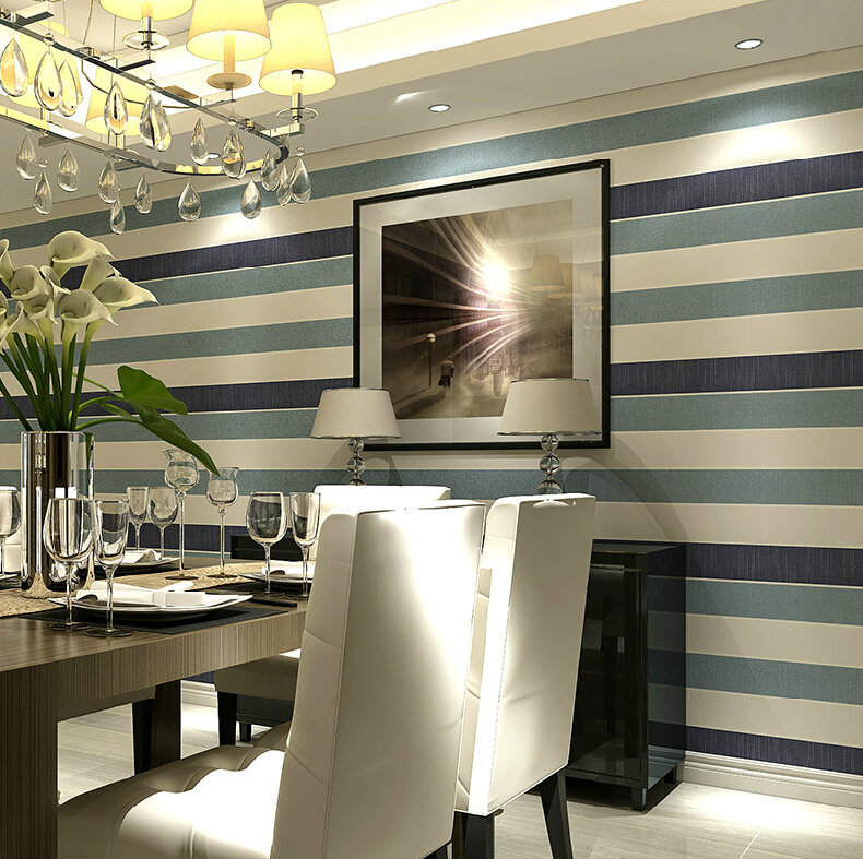 Simple color wide vertical stripes wallpaper bedroom living room restaurant covered with non-woven background wallpaper mural wa(China (Mainland))