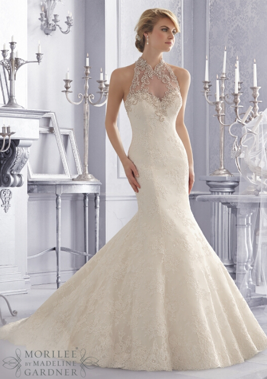 Backless Mermaid Lace Wedding Dresses Ivory 2014 Vestido De Noiva Bridal Gowns Elegant Custom Made China Free Shiping