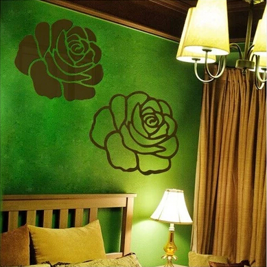 Free shipping Acrylic 3d living room bedroom sofa TV backdrop decorative wall stickers Mirror dimensional crystal rose mirror(China (Mainland))