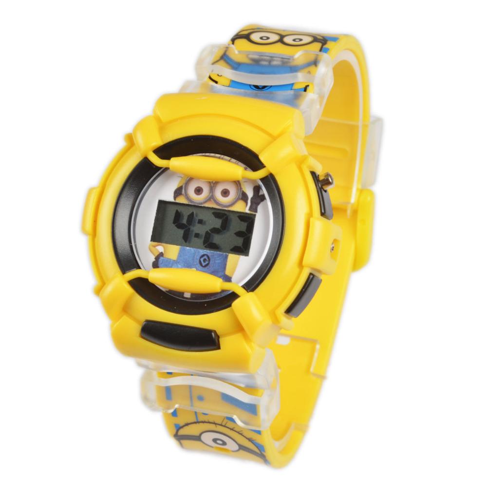 Wholesale NEW Cartoon 3D despicable me 2 minion Wrist watch kids children cartoon quartz watches christmas gift(China (Mainland))