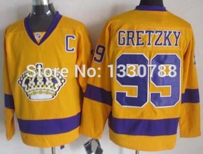 Best popular Cheap Authentic Men's LA Kings Jersey #99 Wayne Gretzky Gold Purple Alternate Stitched Los Angeles Kings Hockey Jer(China (Mainland))