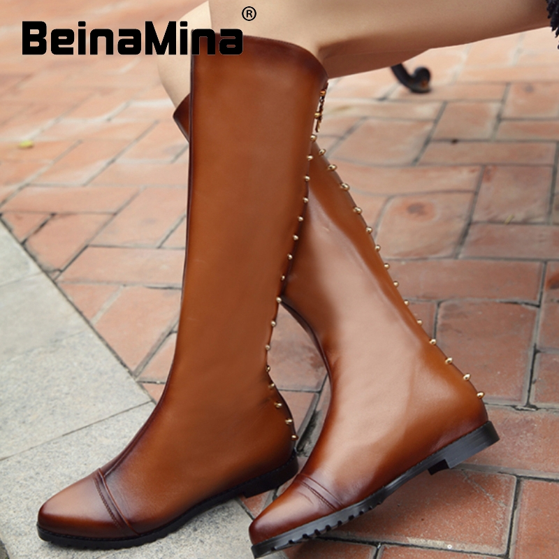 size 34-42 women real genuine leather flat over knee boots fashion rivets long boot winter botas brand footwear shoes R7423<br><br>Aliexpress