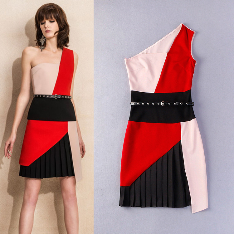 2015 Summer New Fashion Runway European Women's Cambric Contrast Color One Shoulder Mini office Belt Pleated Dress(China (Mainland))