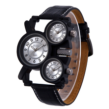 Oulm Luxury Brand Mens Business Leather Band Quartz Watch Multiple Time Zone Military Wristwatches With Gift Box Relogio Releges(China (Mainland))