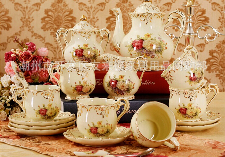 coffee tea sets European ceramic Coffee cup with 15 heads is sheathed Birthday wedding housewarming