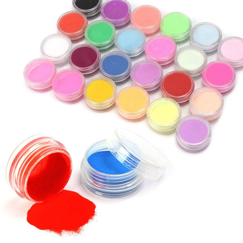 Nail powder 18 Colors Acrylic Nail Art Tips UV Gel Powder Dust Design 3D Decoration Manicure M01202(China (Mainland))