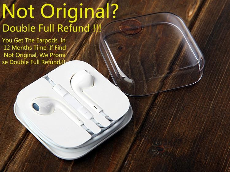 100% Guarantee Original Earphones Genuine Headset Earpods Headphones For Mobile Phone 5 5S 5C 6 6Plus Free Shipping In Stock
