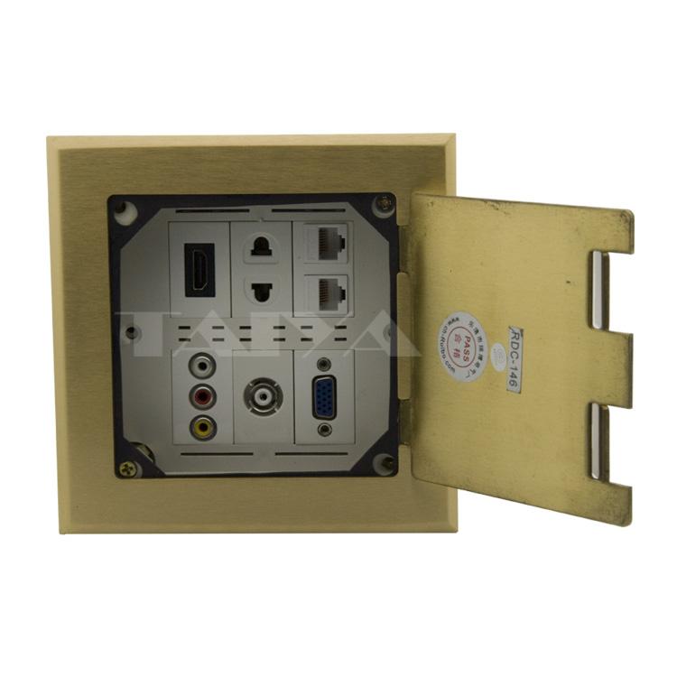 Floor socket with hdmi, VGA, TV, 3RCA AV, 2 x rj45 and AC power free design (Ground Socket)(China (Mainland))
