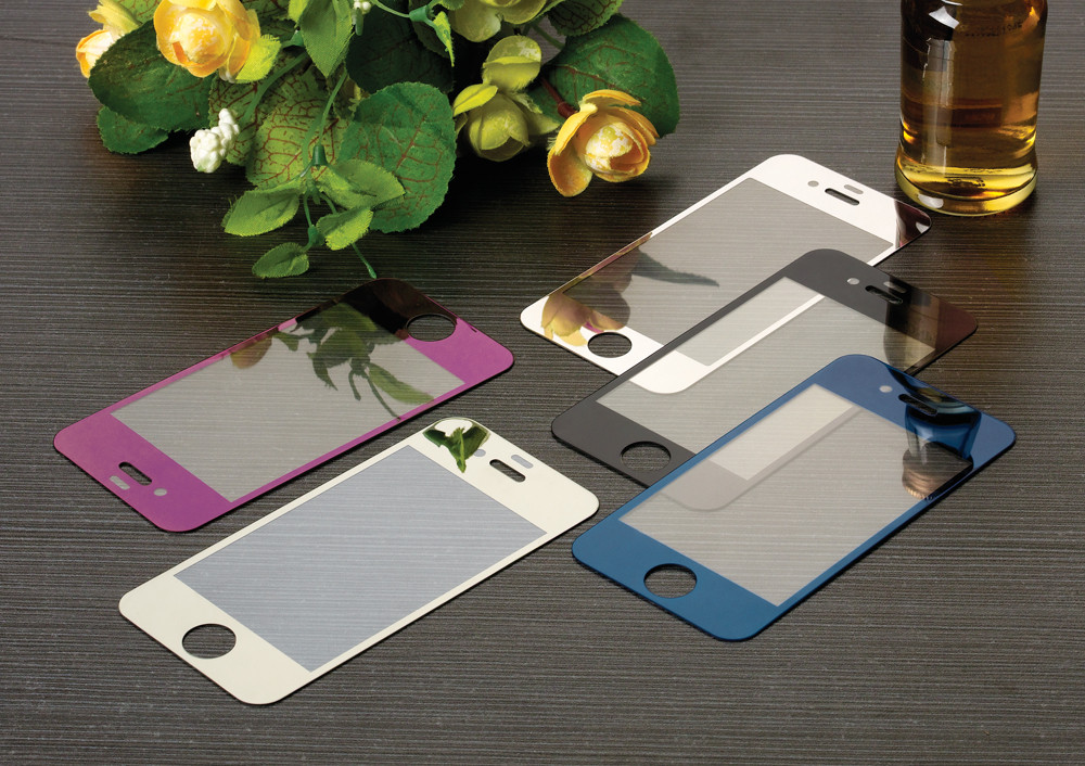 2PCS Front + Back Colorful Tempered Glass Film For iphone 4 4s 5 5s 5se 6 6s 6Plus+ Screen Protector Metal Plating Mirror Film