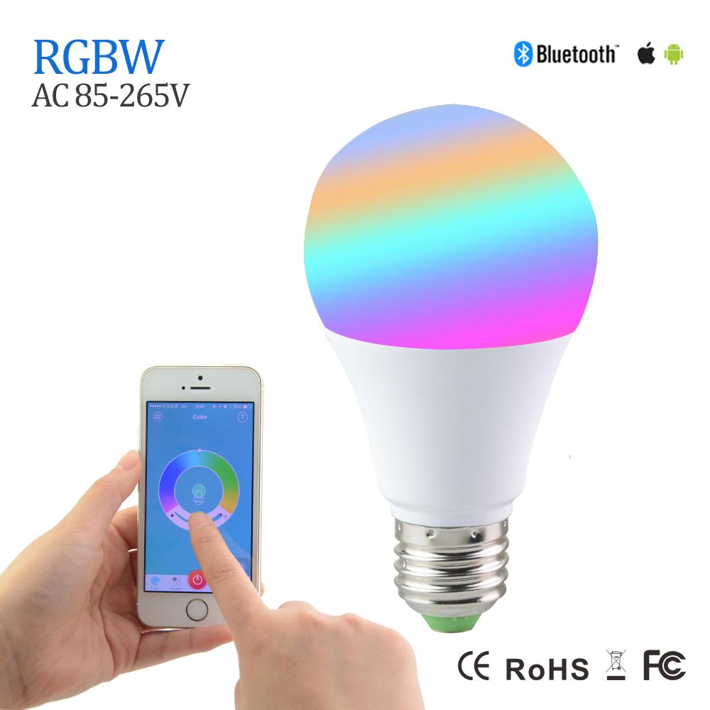 Magic RGBW Bluetooth 4.0 LED Bulbs 5W E27 Smart Mi.light RGB+White Light AC110V 220V dimmable lighting Led Light For Android IOS()
