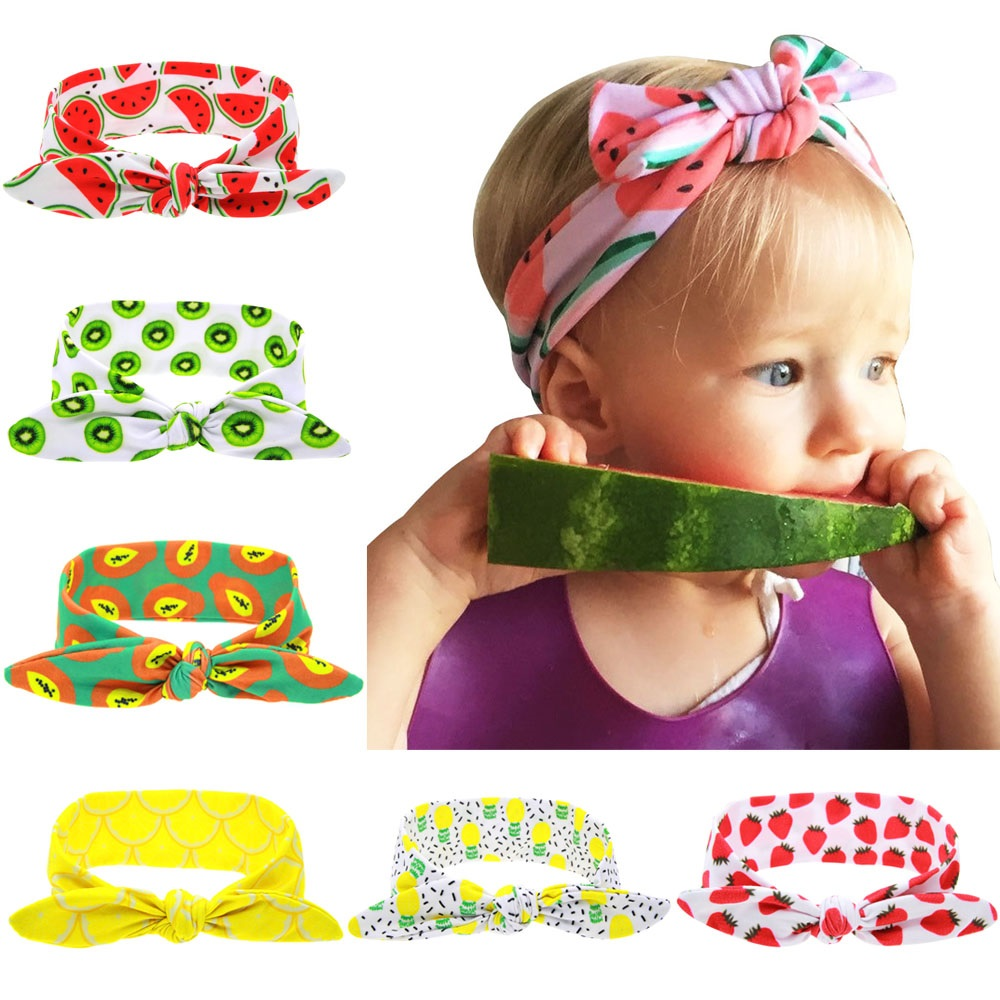 Pineapple bow headwrap Top knot headband Child turban Baby fashion pineapple bows Fruit headwrap Grils top knots 1pc HB099(China (Mainland))
