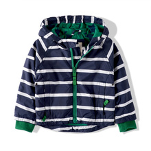 Kids Boys striped jacket spring and children's casual hooded zipper jacket baby jacket striped shirt Children(China (Mainland))