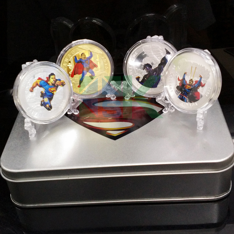 2015 NEW DESIGN Superman replica coin Canadian/canada mint superman coin with box 10 set(China (Mainland))