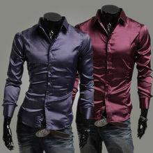 nuovi uomini primavera estate dress shirts uomo seta artificiale vestito di lusso casual elegante camicia dell'uomo di modo viola nero rosso vestiti(China (Mainland))