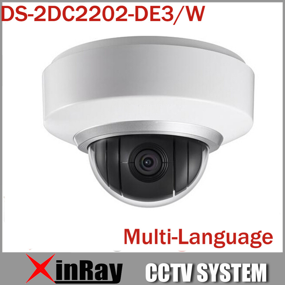 Multi-language Wifi Wireless Camera IP 1080P Auto PTZ Dome Camera DS-2DC2202-DE3/W 2X Zoom Built In Mic and Audio 3D Positioning(China (Mainland))