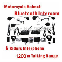 free shipping One Pair DK118-V6  1200m Motorcycle Helmet Bluetooth Intercom for 1200m 6 Riders Interphone