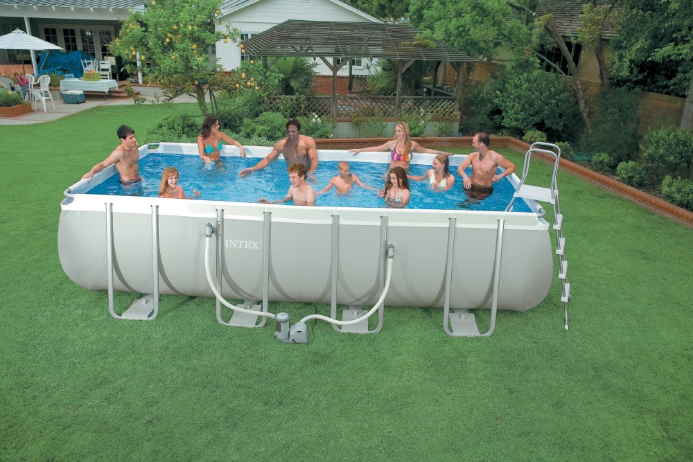 Children And Adults Play Intex Frame Pools Metal Frame Pools Rectangular Frame