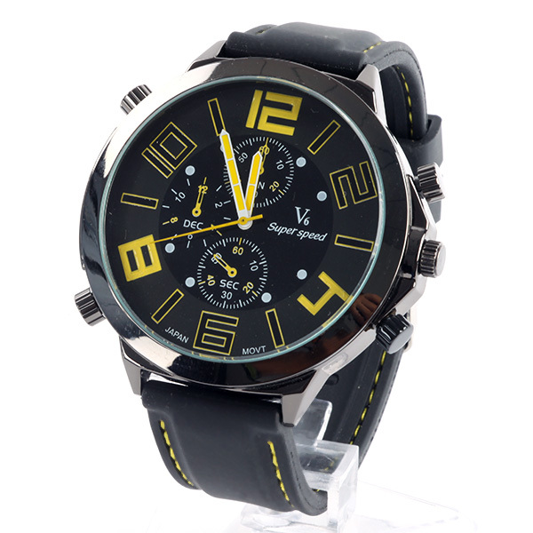 New Men Big Dial V6 Super Speed Watches Silicone Band Sport Quartz Wrist Watch