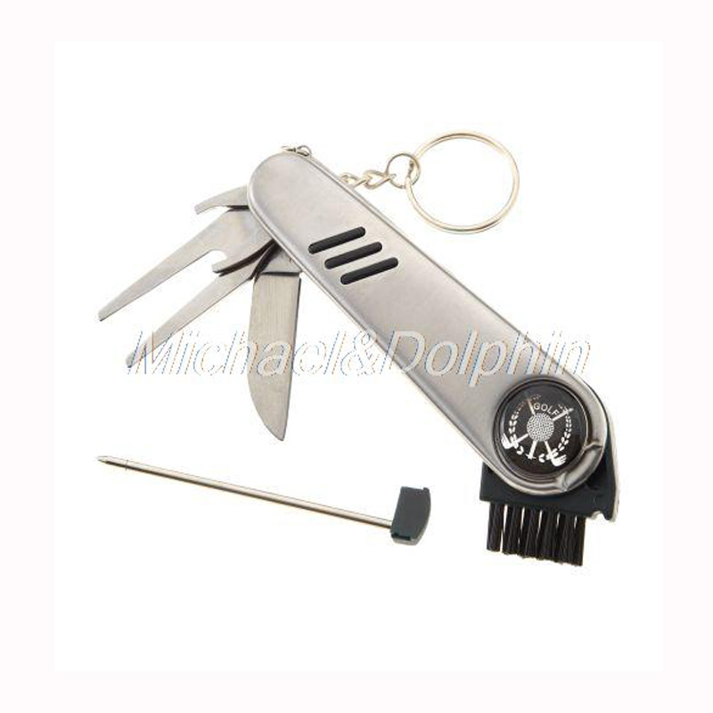 Free Shipping Multi-function Golf Tool Knife Shoe Wrench Brush Score Counter Divot Tool(China (Mainland))