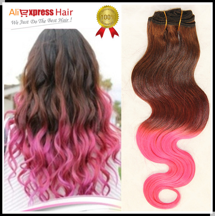 Pink Brazilian Hair,4# Fuscia Pink Most Fashionable Brazilian Human Hair Body Wave Pink Ombre Hair Weaves Hair Extensions(China (Mainland))