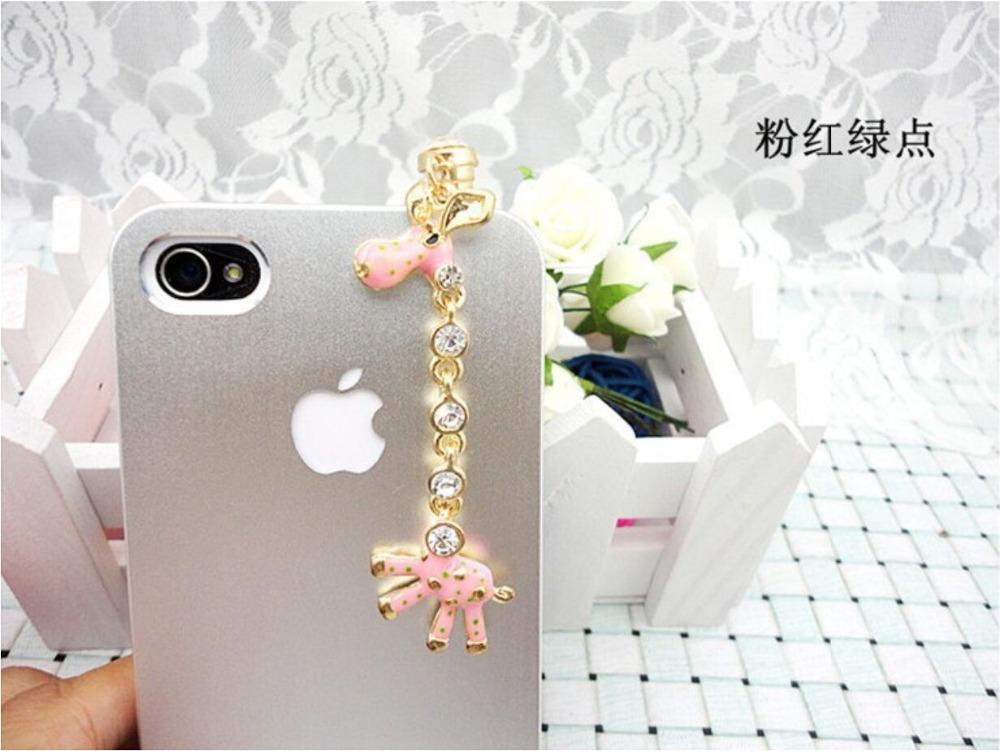 Latest 3.5mm Headset Large Crystal Giraffe Earphone Anti Dust Plug Dustproof Ear Cap for iPh 5 5G 4 4S(China (Mainland))