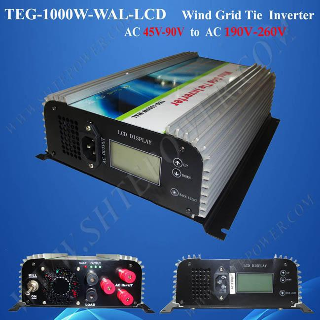 AC 45-90v to AC 90-130v 190-260v 1000w wind grid tie inverter with LCD and Dump Load(China (Mainland))