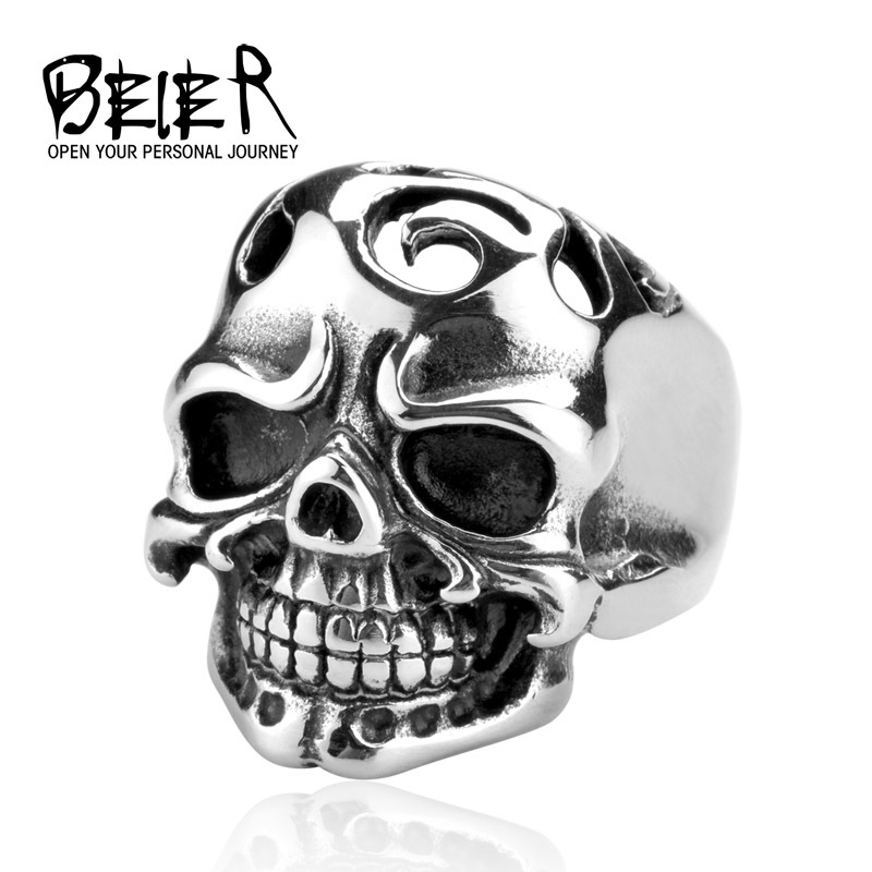 Big Hollow Forehead Fang Skull Ring Stainless Steel Biker Punk Man Fashion Jewelry BR8023(China (Mainland))