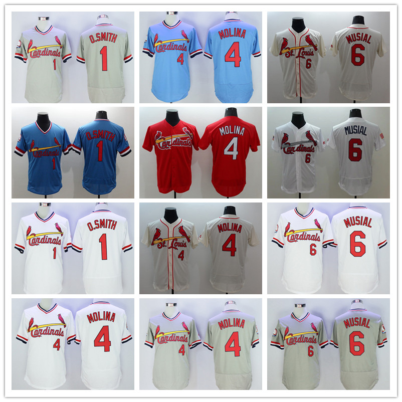 1 Ozzie Smith 4 Yadier Molina 6 Stan Musial Jersey white blue gray red yellow(China (Mainland))