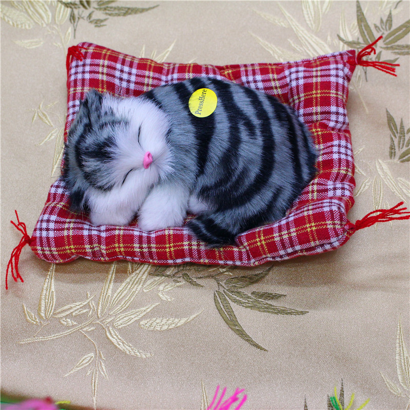2016 Lovely Simulation Animal Doll Plush Sleeping Cats Toy with Sound Kids Toy Birthday Gift Doll Decorations stuffed toys(China (Mainland))