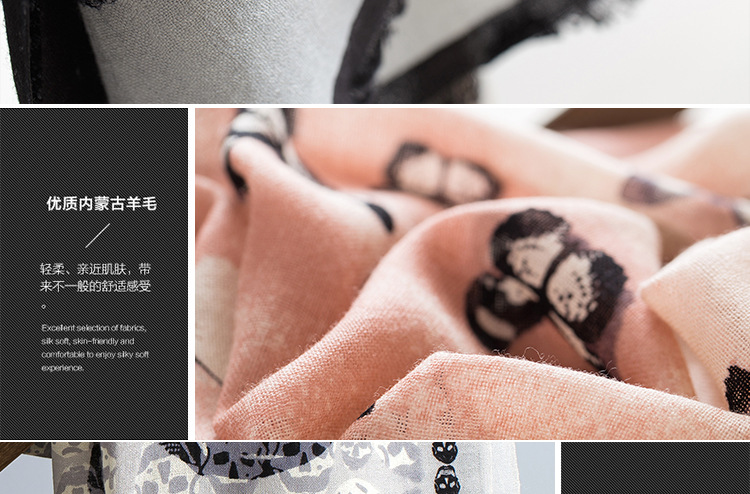 100%Wool Butterfly Lace Printed Women Scarves Autumn Winter Warm Shawls High Quality Cape Wraps Luxury Brand Fashion Echarpe S7