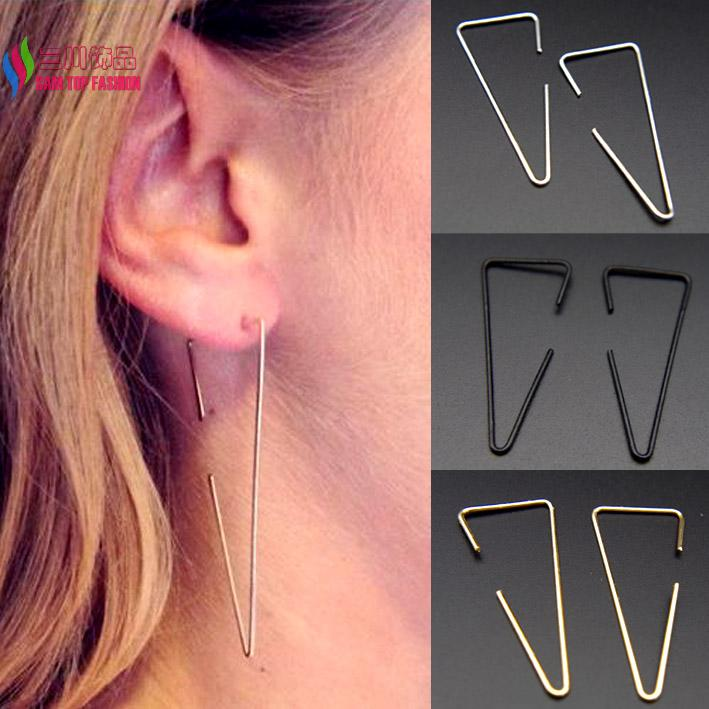 Rock & roll style fashion punk gold/silver/black cooper wire triangle geo drop earrings for women pendientes de borla(China (Mainland))