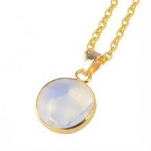 Fashion Natural Stone Pendant Necklace For Women Sapphire Crystal Bijuterias Amethyst Opal Necklace Round Gems Summer