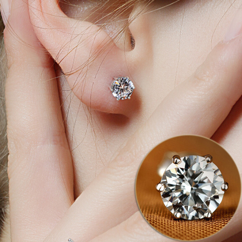 AAA+ Simple New Design Rhinestone Crystal Silver Stud Earrings Piercing Ear Studs for Women Wedding Party Gift Free Shipping(China (Mainland))
