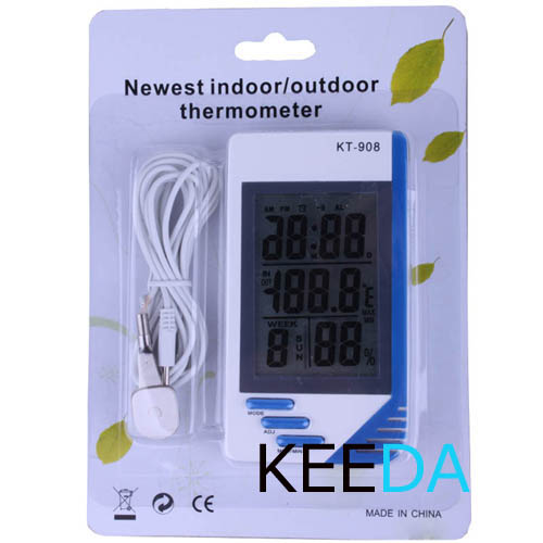 LCD Digital Indoor Outdoor Temperature Tester Thermometer Hygrometer Humidity Meter Clock - Shenzhen Keeda Electronic Co., Ltd. store