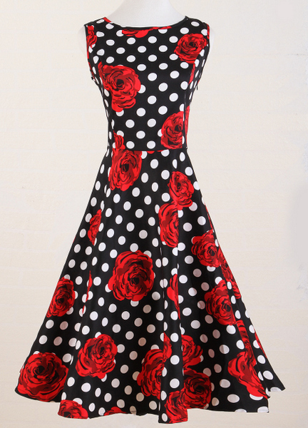 floral print dress polka dot black white red rose cotton knee length long retro vintage large sizes UK xxxl bride wedding party(China (Mainland))