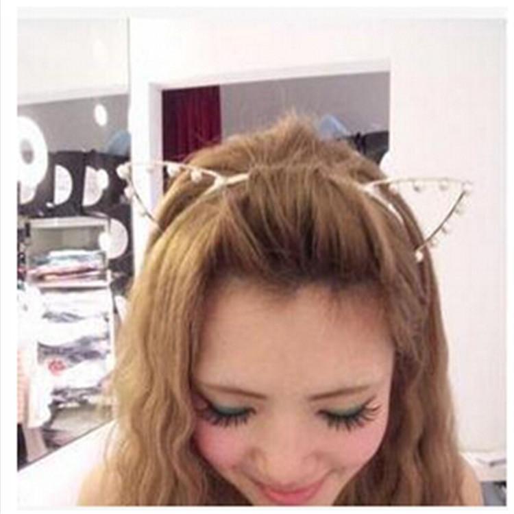 lackingone Fashion Sexy Cat Ear Tiara Girl Head Band pearl jewelry Hair Band free shipping(China (Mainland))