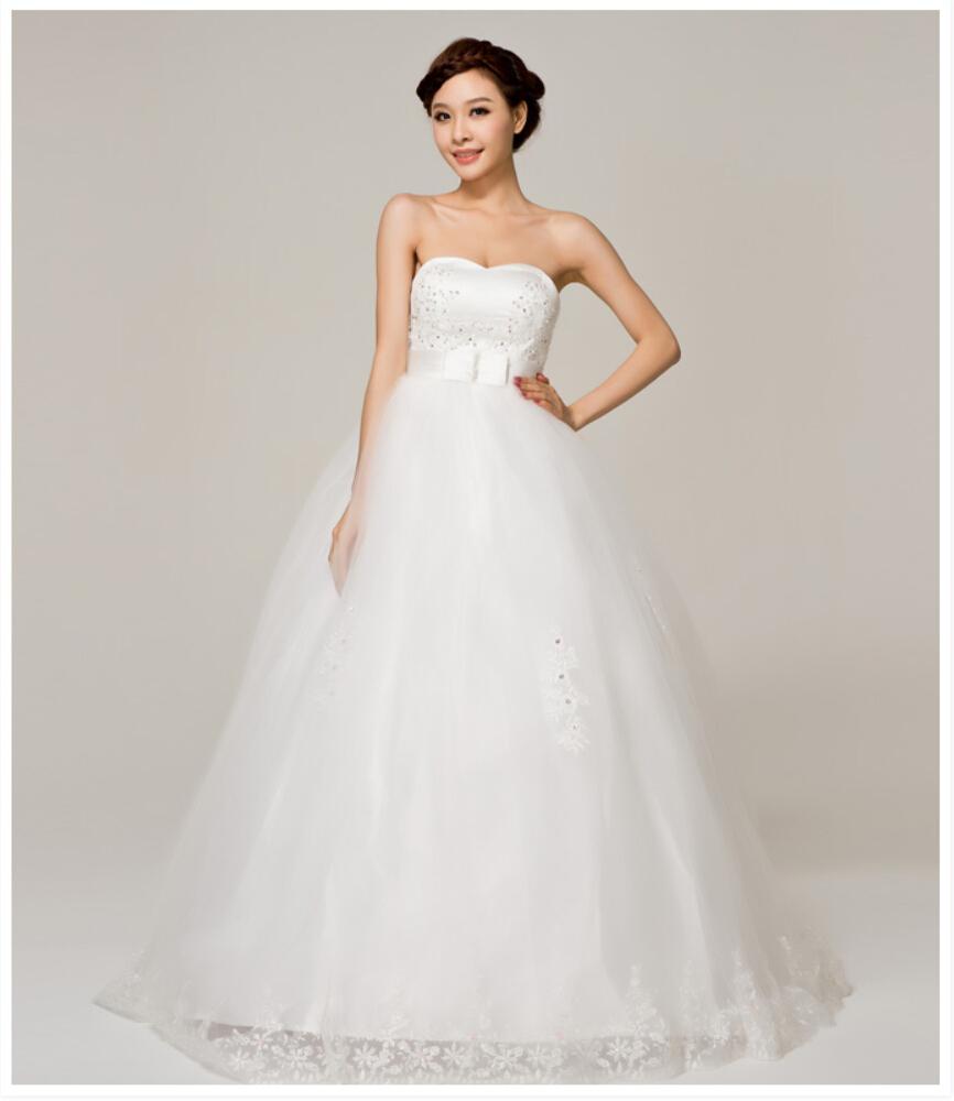 Maternity high waist wedding dress sequined tube up Wedding dress waistline