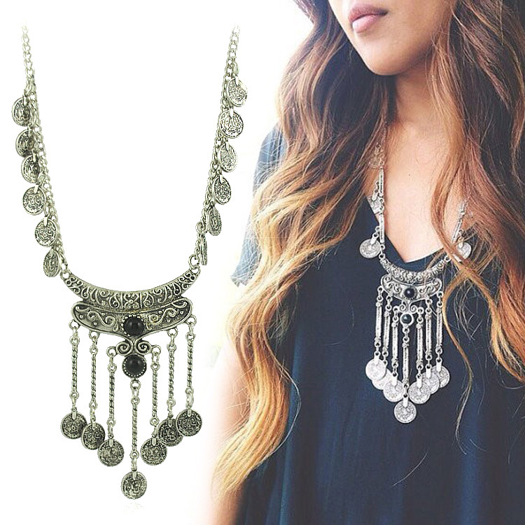 2015 Bohemian Jewelry Vintage Coin Long Pendant Necklace Antique Silver Chain Gypsy Tribal EthnicTurkish Statement women
