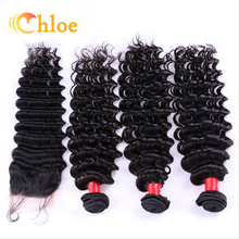 6A Unprocessed Brazilian Virgin Hair Deep Wave With Closure Human Hair 4 Bundles With Lace Closure