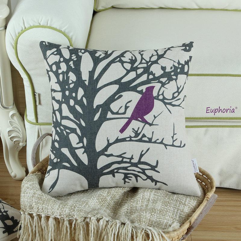 Cushion Cover Decorative Pillows Shell Home Sofa Purple Bird Printed High Quality 18 X 18 45cm